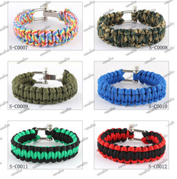100Pcs Paracord Bracelet Outdoor Bracelet With Stainless Steel Buckle Survival Escape Life-saving Bracelet Handmade Bracelets 29Colors
