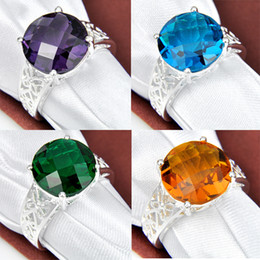 2015 Direct Selling Sale Rodamiento Roller Rotary Table Tapered Bearing 4pcs 925 Silver Green Crystal Gemstone Jewelry Rings #7 #8 #9 R0151