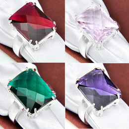 2015 Rotary Table Tapered Bearing Rodamiento Roller 4pcs 925 Silver Crystal Gemstone Jewelrywomen Rings #7 #8 #9 R0159/r0158/r0160/r0161