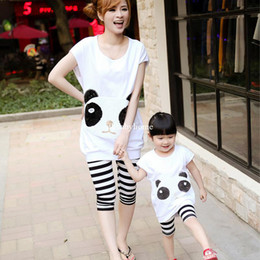 2014 summer new Korean version of paternity suit panda mother and daughter Family fitted sequined women's summer t shirt