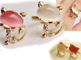 Super Meng opal ring! Cute little kitty! Female forefinger opening ring!fashion jewelry .drop shipping .OUTLETS.jewelry sale. 10pcs/.QF.