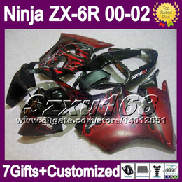 7gifts For KAWASAKI NINJA ZX6R 00 01 02 ZX 6R 636 ZX-6R SZ730 red flames ZX636 ZX-636 2000 2001 2002 Free Customized Fairing Kit red black