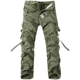 Wholesale 2017 Men Pants Cotton Casual Military Army Cargo Pants Fashion Multi-Pocket Combat Work Pants Trousers (No Belt) R48 salebags