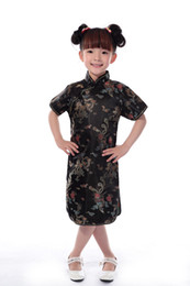 China Shanghai Story Faux Silk fabrics 1-7 years Children Chinese Traditional baby Clothing Dragon phoenix Tang suit Cheongsam style girls Dress suppliers