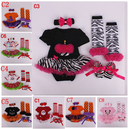 infant baby Halloween Chrismas 4pc Set New year Zebra romper Skirt & crib shoes & Ruffled lace legwarmer & headband outfit Polar dot Santa