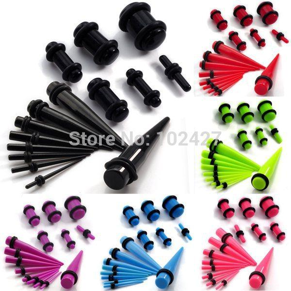 Atacado-30 Pcs Orelha Taper + Plug Kit 1.6mm-10mm Medidores Expander Conjunto Stretchers Corpo Jóias Ear Plug Set Drop Free
