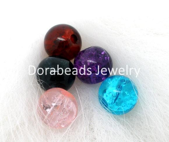 Wholesale Crackle Glass Beads Free Shipping - Wholesale-Free Shipping! 200 PCs Mixed Crackle Glass Round Beads 6mm Dia. Findings (B04929)