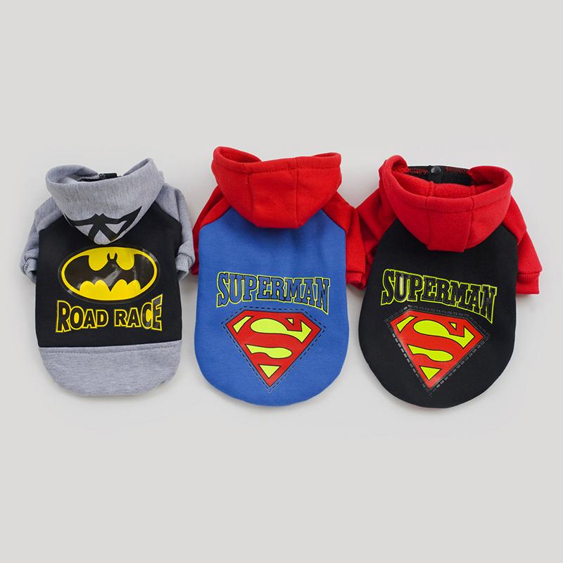 Wholesale Small Cotton Doggie Clothes - Superman Cosplay Cats Dog Pet Hoodie Clothes Forelegs Shirt Dogs Doggy Doggie Clothes Warm Apparel Coat Xmas Gift Blue Black Yellow
