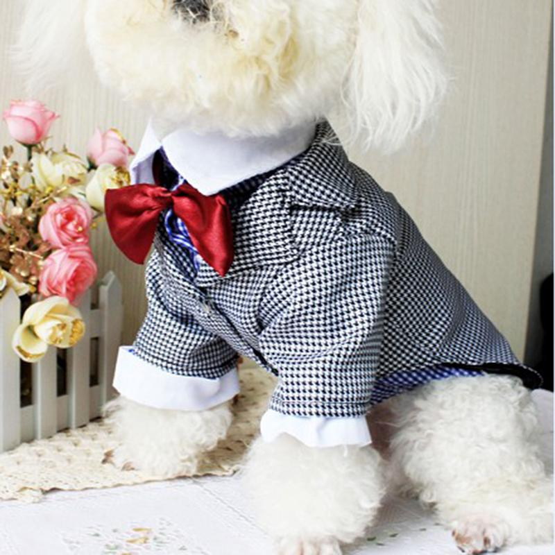 2015 Newest Dog Clothes Winter Western Style Male Wedding Dog Suit & Bow  Tie Puppy Pet Dog Costume A