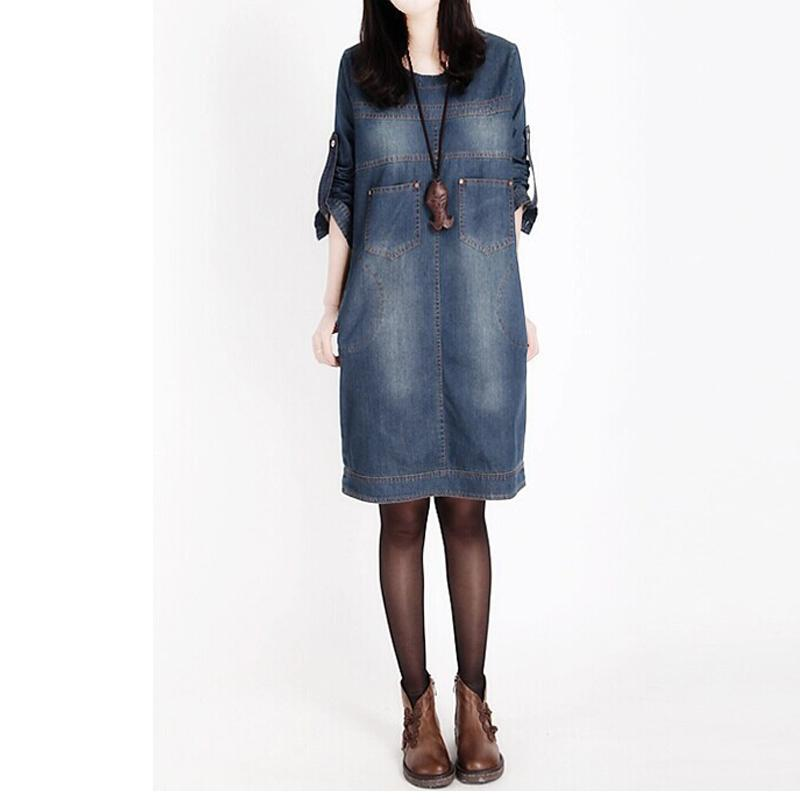 Wholesale Milling Spring - Spring And Autumn European And American Big Size Women Mill White Long-sleeved Denim Dress Vintage Denim Dress