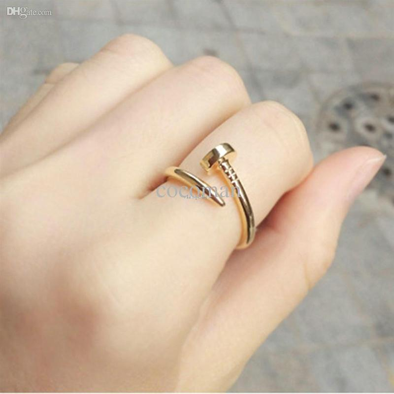 Wholesale Nail Ring Order - Wholesale-No Mini order Celebrity Style Screw Nail Finger Ring Women Fashion Jewelry Silver Plated , Gold Plated , Black