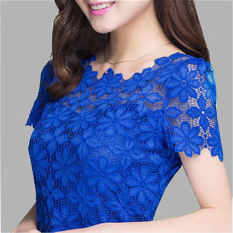 Wholesale Yellow Sheer Blouse - 2015 New Short Sleeve Tee Shirt Top For Women Clothing Women Lace Blouse Sexy Floral Sheer Blouses