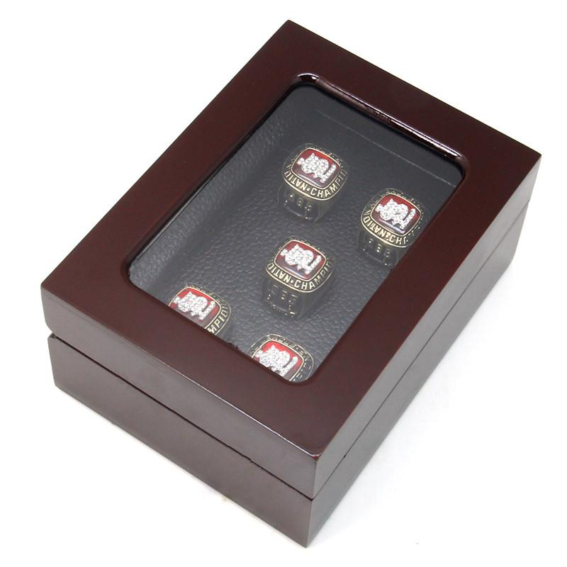 Wholesale Wooden Jewelry Box For Rings - Wholesale-BX0022-5 5 Holes New Championship Rings Box Punk Style Jewelry Display Box Red Wooden Jewelry Box For Ring Display