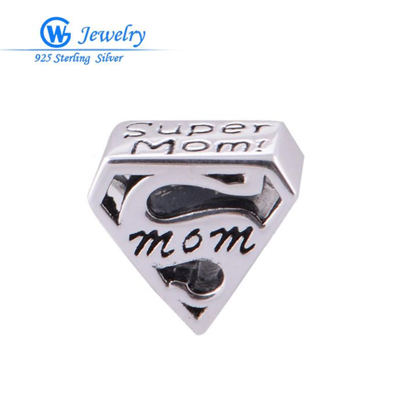 Wholesale European Super Fashion Necklace - Wholesale-2015 Fashion 925 sterling silver super mom charm Fits European Bracelets necklaces & pendants GW Fine Jewelry T008