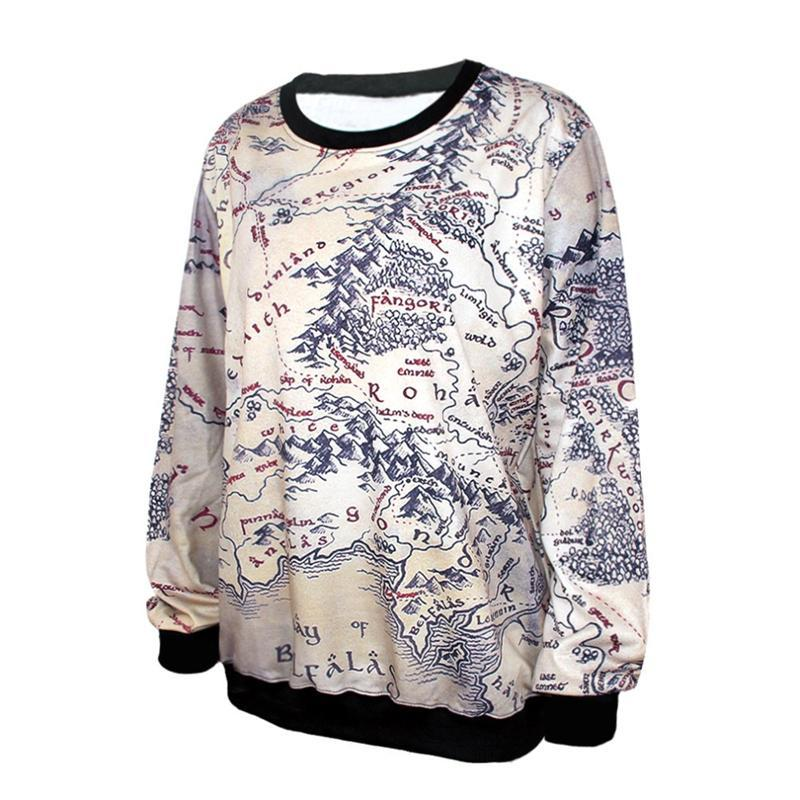 Wholesale Casual Earth Fashion - Fashion Lord of The Rings Hoodie Middle Earth Map Punk Women Sweatshirt 3D Print Heart Breaker Printed Casual Hoodies pullover long sleeve