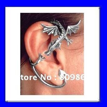 Wholesale Alchemy Jewelry - Wholesale-Dragon Ear Cuff Earring Alchemy Gothic Stud Wrap Dragon's Lure Ancient Silver Fly Fashion Jewelry AL619-1