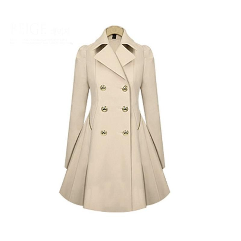 Wholesale Manteau S Femme - Spring Autumn 2016 Women'S Double-Breasted Long Coat Female Long-Sleeved Solid Abrigos Elegant Ruched Manteau Femme