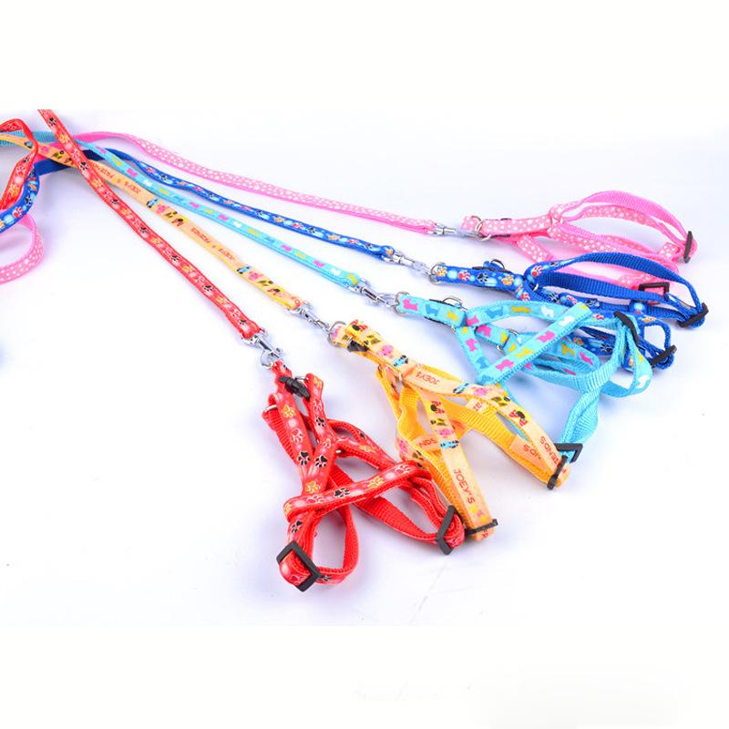 Wholesale Harness Rope Sizes - New Small and Medium-sized Pet Dog Cat Cute Print Chest Strap Set Traction Rope Leash Dog Adjustable Harness for Dogs
