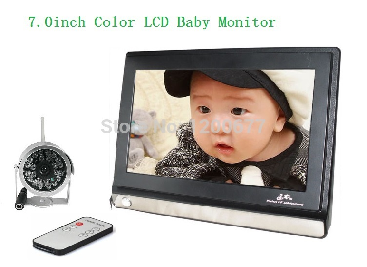 Wholesale 7inch Lcd Display - 7inch wireless fetal doppler 2.4Ghz Remote control IR Night vision 4 channels baba eletronica baby camera video baby monitor