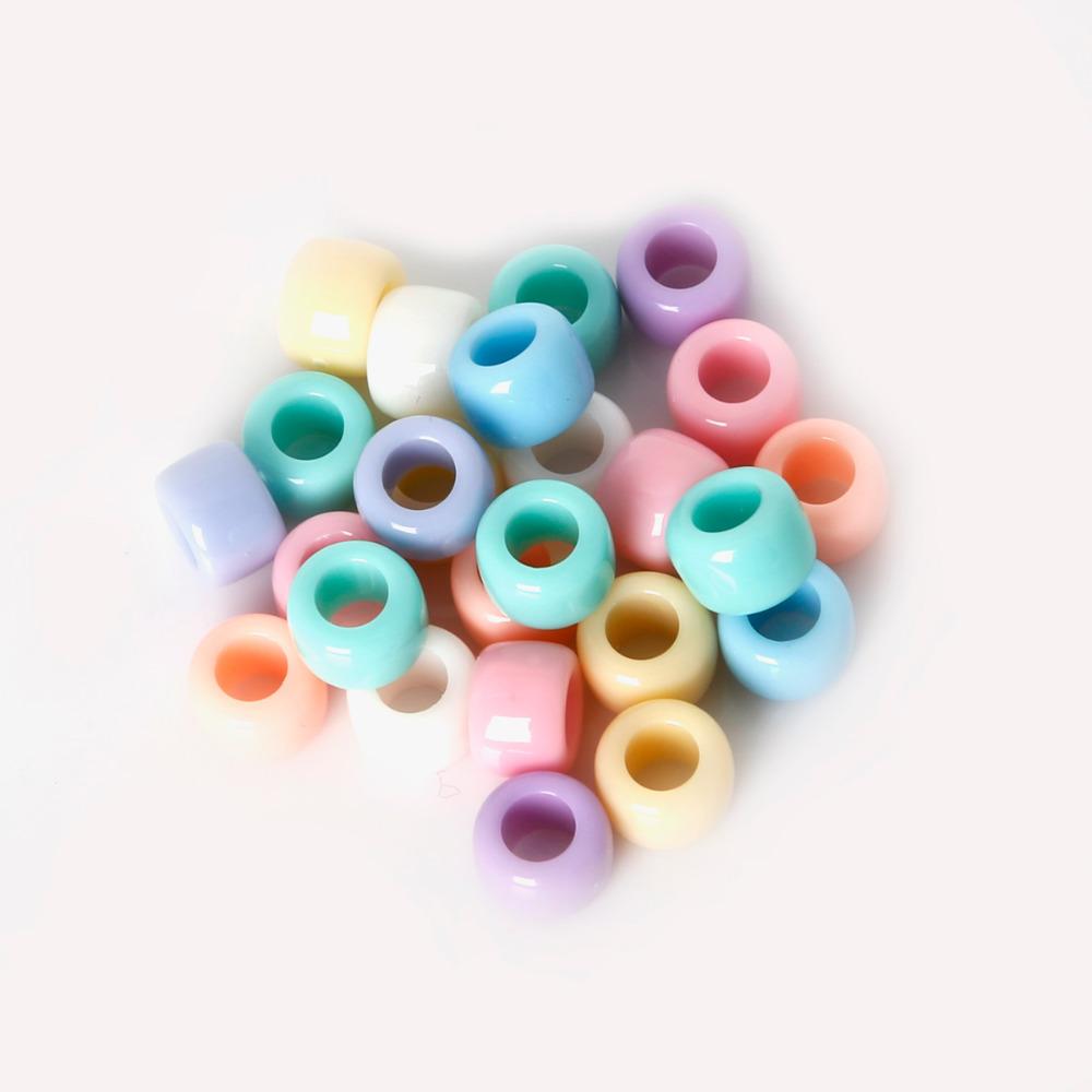 telar mixto al por mayor-Venta caliente 200 unids 6x8mm Acrílico color Mezclado Opaco Granos de Plástico Multi Perlas de Granos Loom Beads Bandas de Goma Pulsera Granos