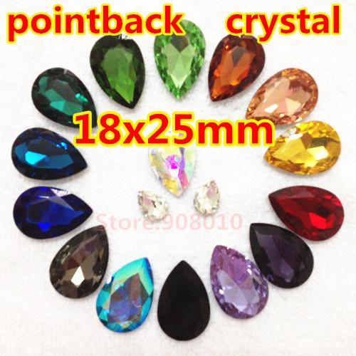 Wholesale Pear Glass Crystal Beads - Wholesale-72Pcs 18x25mm Pear Drop Glass Crystal Fancy Stone Teardrop Glass Crystal For Jewelry Making,Garment Use