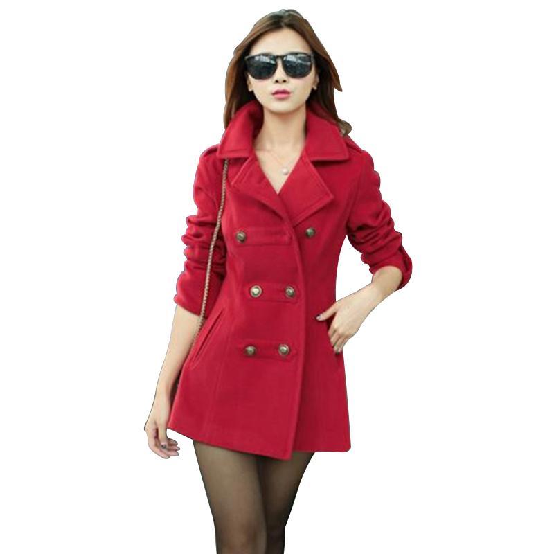Wholesale korean style women s coat - 2016 Fashion Korean Style Women Woolen Coat High Quality Warm Woolen Jacket Coat Female Chaquetas Mujer Punk Slim Manteau Femme