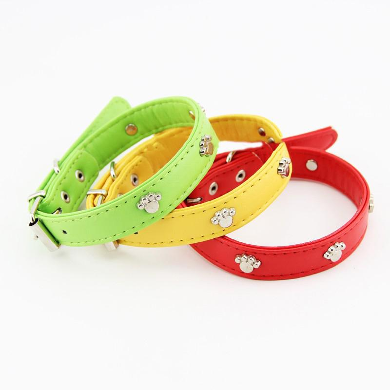 Wholesale Dog Collar Leather Paw - New Design Dog Necklace Leather Small Dog Collars With Paw Stud Pet Products Puppy Cat Buckle Neck Fashion 3 Colors 3 Size S M L