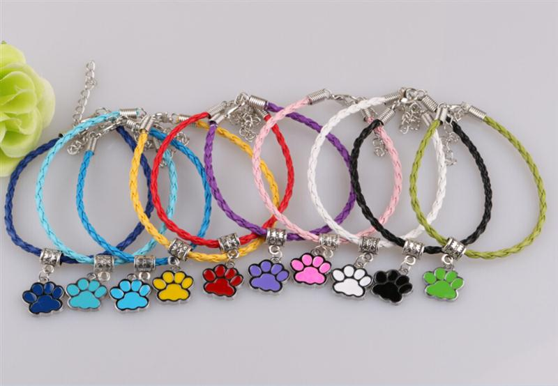 Wholesale Enamel Dog Charms - Wholesale-New Hot PU Leather Cords Charm Bracelets&Bangle Ancient Silver Drip Enamel Dog Cat Paw Prints Pendant Fashion Jewelry 10 COLOR
