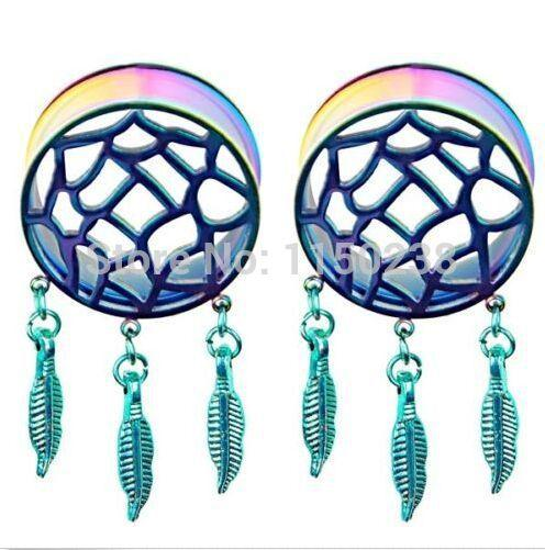 Grossiste-2pcs Rétro Plumes Dream Catcher Dangle Ear Plug Flesh Tunnel Expander 8-25mm