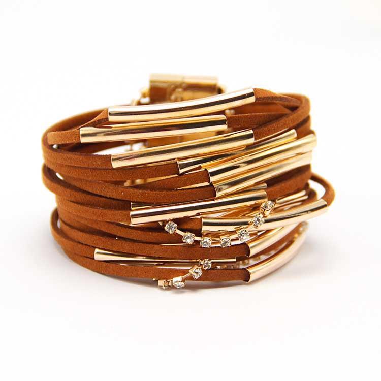 Wholesale Hipanema Magnet - Wholesale-Fashion hot selling gold magnet buckle leather hipanema bracelet