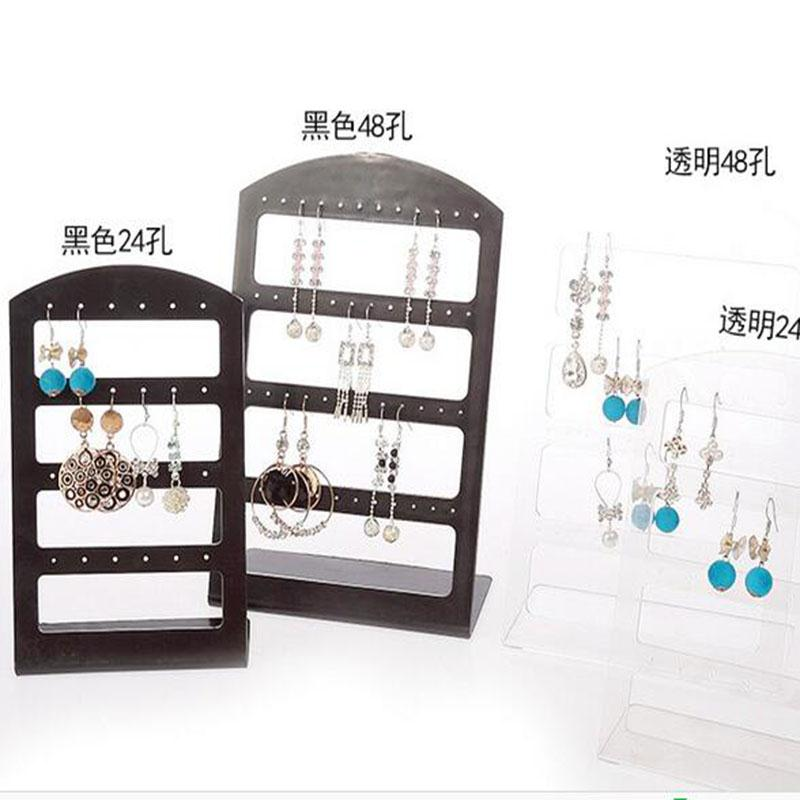 Wholesale Earrings Plastic Holder - Wholesale-48 Holes or 24 holes earrings Ear Studs Jewelry Show Plastic Display Rack Stand Organizer Holder