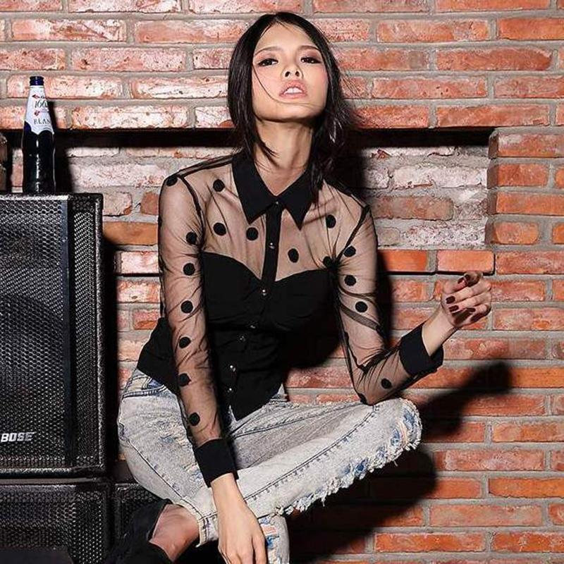 Wholesale Shirt Chiffon Retro Dot - 2016 Woman Clothes Fashion Long Sleeve Retro Chiffon Polka Dot Shirt Blouse Sexy Ladies Black Mesh