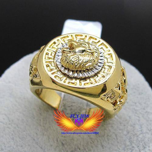 Wholesale Lion Head Rings For Men - Wholesale-Hot Selling,18k gold Plated Nickle free Exquisite Engrave Lion head And Eagle Big Finger Jewelry Rings For Men And Women
