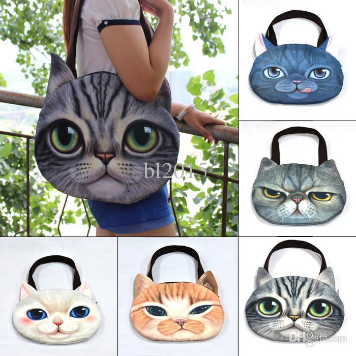 Wholesale large cat tote bag - Wholesale-Large Cat Face Purse Cute Zipper Shoulder Handbag Tote Shopper School Bag