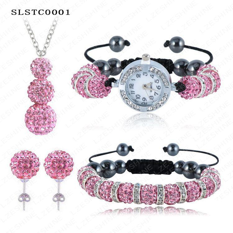 Wholesale Shamballa Bracelets Watch Crystal Beads - Wholesale-Shamballa Spacer Bead Disco Ball Set Four Pieces Earring Necklace Bracelet Watch Shambala Crystal Set Mix Color Option SLSTCmix1