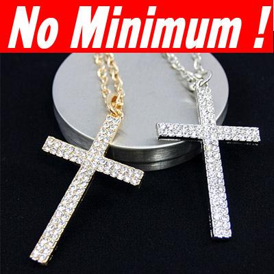 Wholesale Gold Jewellery For Men - Wholesale-18 K gold plated Silver plated Big Cross pendant chain necklaces & pendants hip hop jewellery for men women 2015 designer