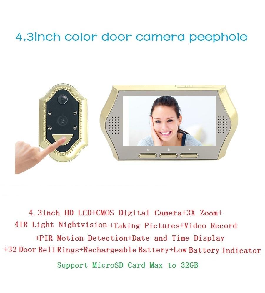 2016 videoglazok with motion sensor 4.3inch TFT LCD IR Night vision 3X Zoom 32 Rings door bell