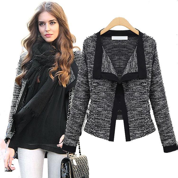 Wholesale Womens Long Sweater Coat Black - 2016 Fashion Women Sweater Hitz European and American womens loose long-sleeved knit cardigan coat sweater