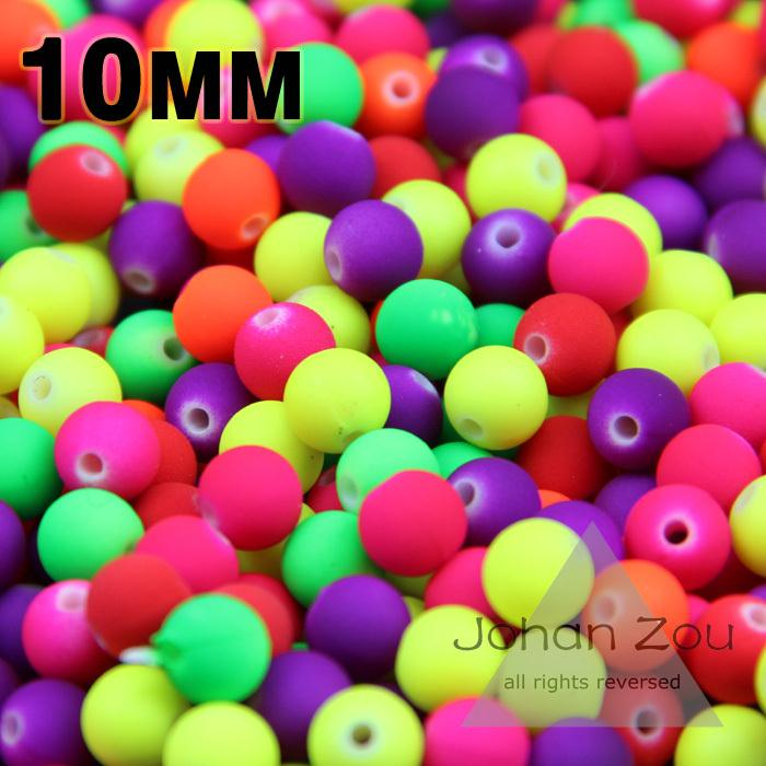 Wholesale Rubber Spacer Beads - Wholesale-Free Shipping Top quality 100PCs Mixed Candy Color Acrylic Rubber Bead Neon Matte Round spacer loose beads Jewelry Handmade 10mm