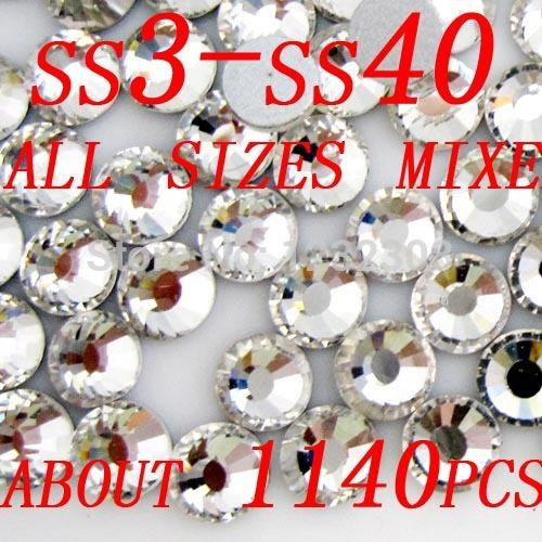 Wholesale Ss34 Clear Flatback - Wholesale-All sizes 2028 CRYSTAL CLEAR Flatback rhinestones (Non Hotfix) SS3 SS4 SS5 SS6 SS8 SS10 SS12 SS16 SS20 SS30 SS34 SS40