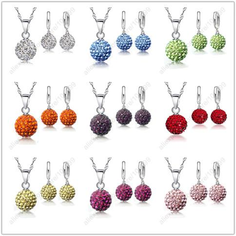Wholesale Disco Ball Sterling Set - Wholesale-2015 Hot New Jewelry Sets 925 Sterling Silver Austrian Crystal Pave Disco Ball Lever Back Earring Finding Pendant Necklace Woman