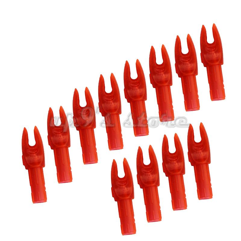 50 pièces en plastique rouge / bleu flèche de tir à l'arc en plastique pour ID 6 mm OD 8mm flèches