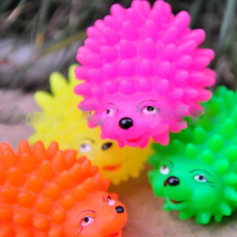Wholesale Mini Puppy Shape - Mini Hedgehog Shape Pet Dog Puppy Squeaky Chew Toy Squeaker Ball Funny Toys Random Color Wholesale