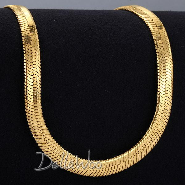 Wholesale Gold Herringbone Necklaces - Wholesale-Mens Boys Chain 3.5 4.5 5.5 9 10 11mm MIRROR Snake HERRINGBONE Necklace Gold Filled Necklace GF Anniversary Jewelry DNLM38