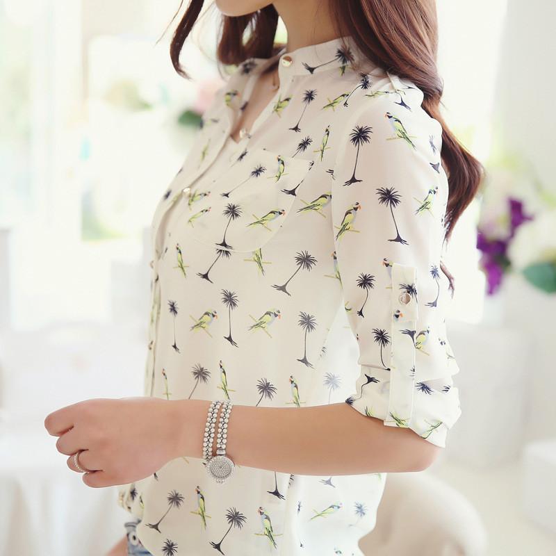 Wholesale Bird Print Chiffon - New Women Long-sleeve Bird Print Chiffon Shirts Fashion Slim Spring Summer Women Casual Blouses High Quality Female T Shirt Tops