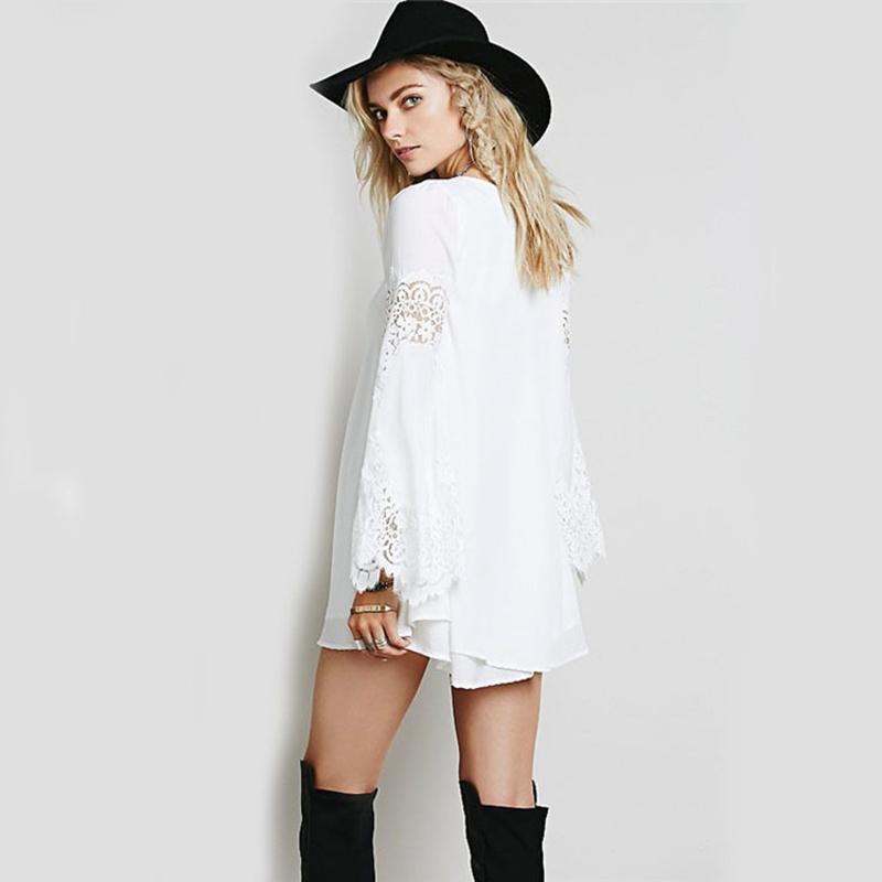 Trend Chiffon Lace Stitching Loose Long Sleeved A Line Dress Women