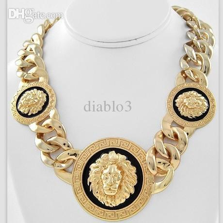 Wholesale Necklace Big Leopard - Wholesale-Min. Order is $10(Can mix order)! Europe Black Gold Lion Head Zebra  Leopard Big Chain Necklace Crystal. Nice Gift for Women Men