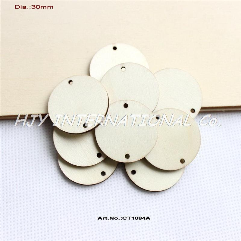 "Wholesale Unfinished Wooden Circles - Wholesale-(150pcs lot) 2 holes hanging unfinished round circle wooden disks supplies cut outs wood crafts 1 1 4""-CT1084A"