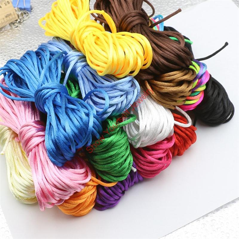Wholesale 2mm Nylon Satin Rattail - Wholesale-20yard Soft Satin Rattail Silk Macrame Cord Nylon Kumihimo Shamballa For Diy Bracelet Necklace Jewelry Findings Accessories 2mm