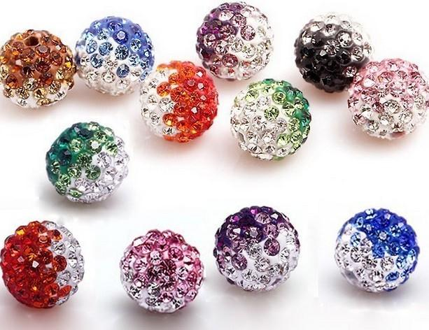 Wholesale Disco Ball Necklace Gradient - Wholesale-50pcs lot 10mm mixed Gradient change Colorful Crystal Shamballa Beads Pave Clay Disco Ball Bracelet Necklace DIY